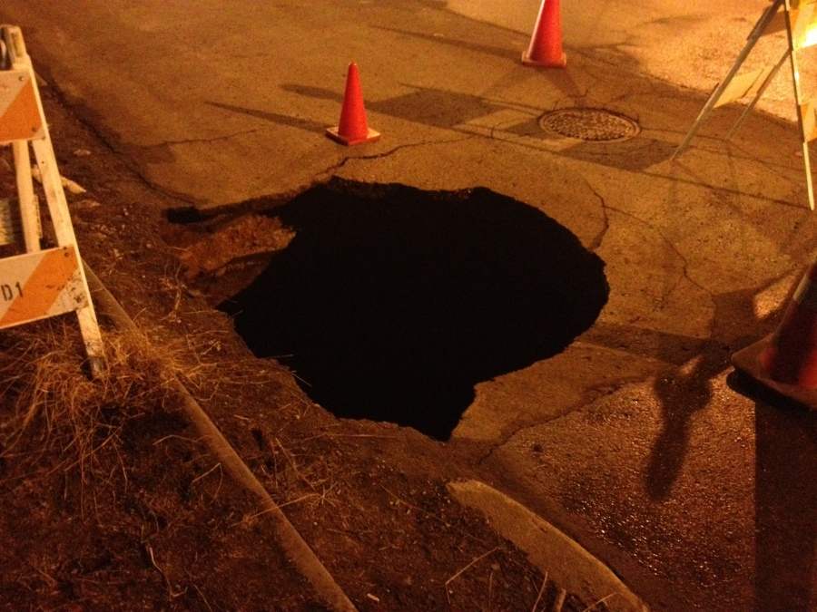 A sinkhole formed March 7 in the Crossroads district of Kansas City, Mo.