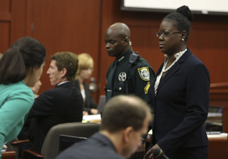 Trayvon Martin's mother, Sybrina Fulton, takes the stand during George Zimmerman's trial in Seminole circuit court in Sanford, Fla. Friday, July 5, 2013. Zimmerman has been charged with second-degree murder for the 2012 shooting death of Trayvon Martin.