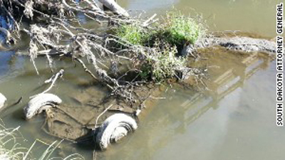 A car that appears to be Cheryl Miller and Pamela Jackson's was spotted in a creek just half a mile from the girls' intended 1971 destination near Beresford, South Dakota, reported CNN affiliate KTIV-TV. Photo courtesy: South Dakota Attorney General's Office.