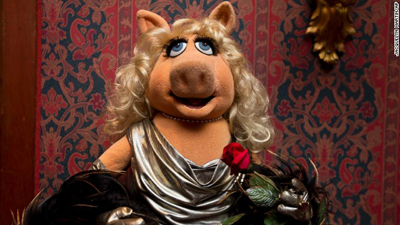 "A Miss Piggy muppet used in ""The Muppet Show,"" is all dressed up during a ceremony to donate additional Jim Henson objects to the Smithsonian's National Museum of American History in Washington. Photo courtesy: CNN"
