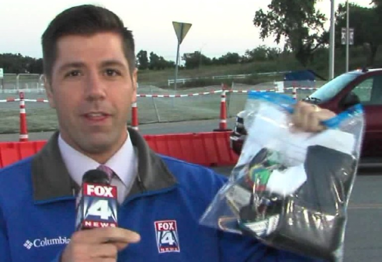 Matt Stewart demonstrates the clear bag policy that Arrowhead Stadium will be implementing during the 2016 season.