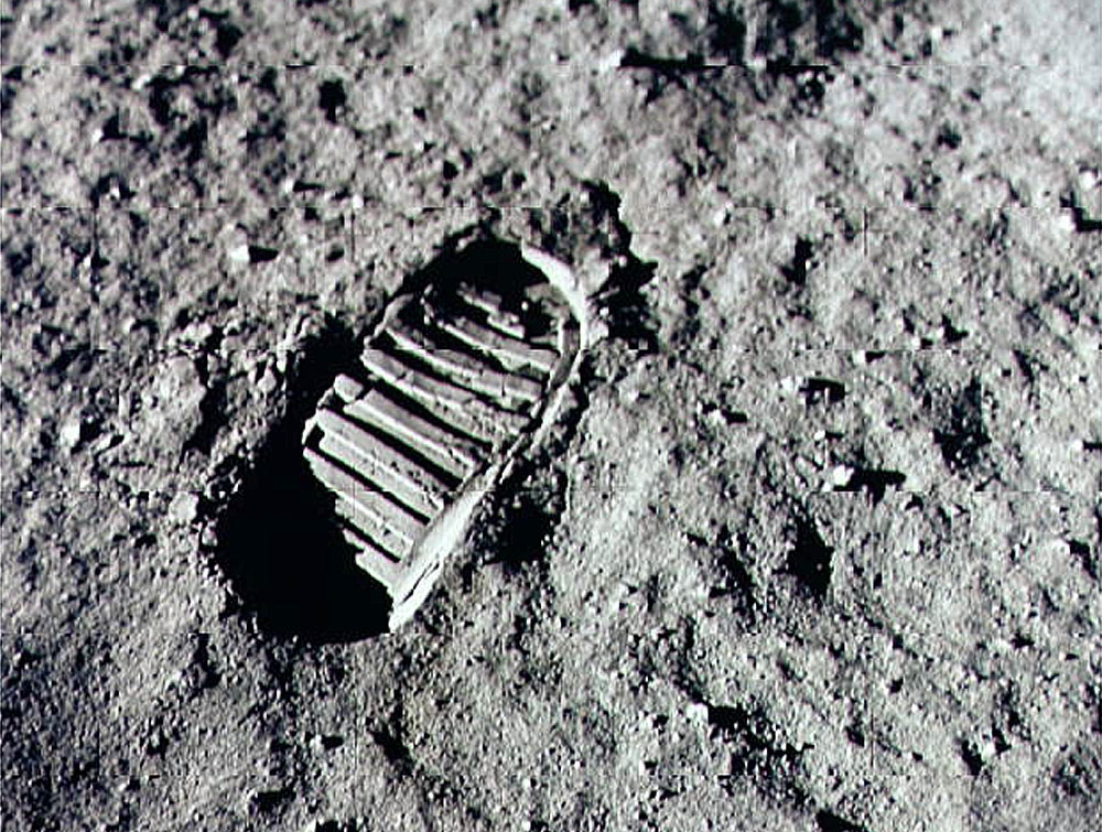 Picture of footprint on the moon