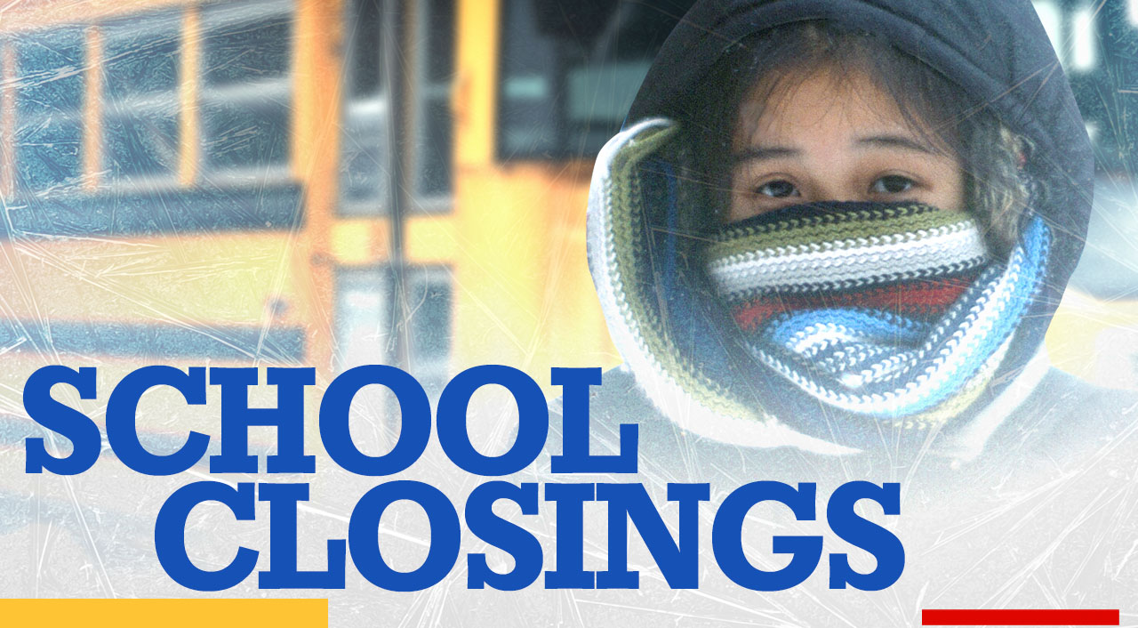 Graphic of child and bus with words 'School closings'