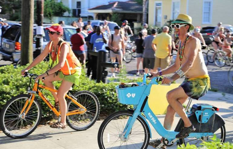 Some participants used public rental bikes during Naked
