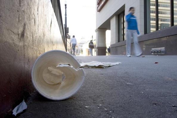 Picture of styrofoam litter