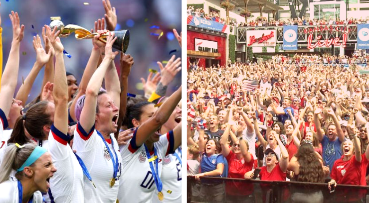 Pictures of the U.S. women's soccer team and Kansas City power and light watch party