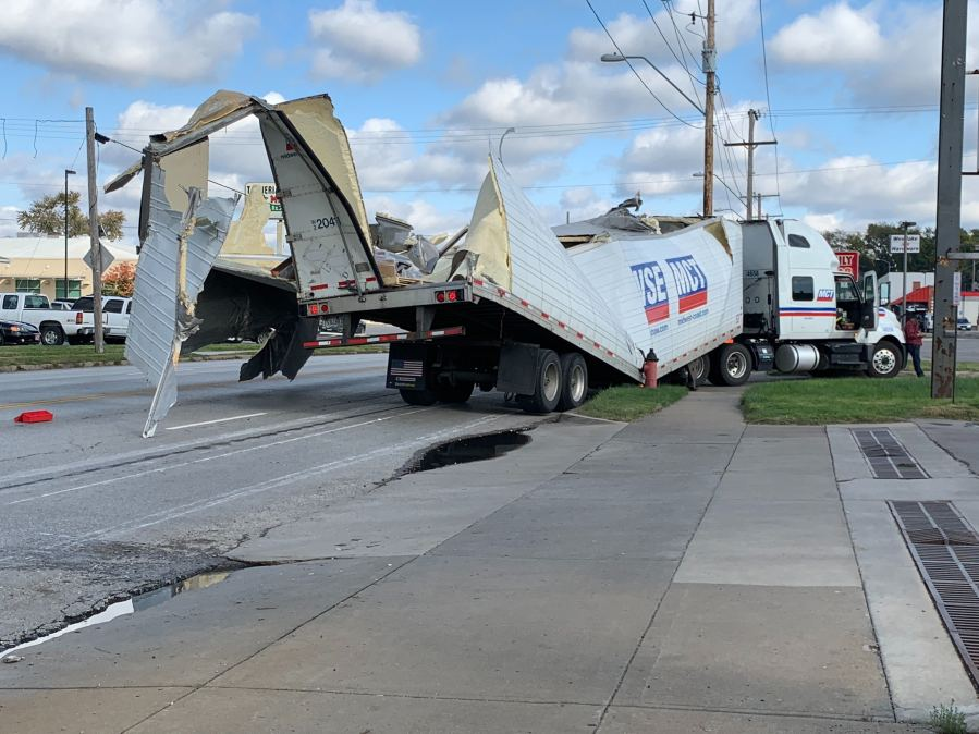 Picture of destroyed truck