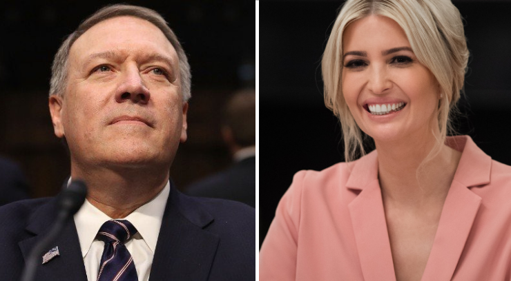 Pictures of Mike Pompeo and Ivanka Trump