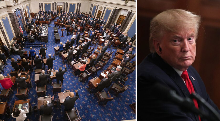 Picture of the US Senate and President Donald Trump