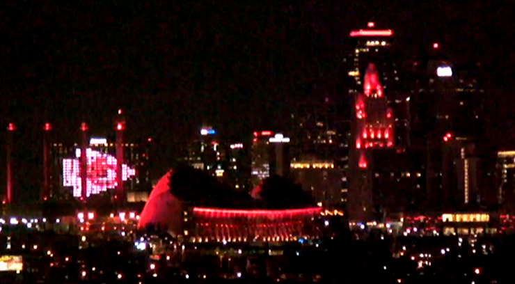 Picture of downtown KC lit red