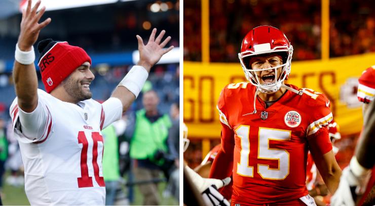 Pictures of Garoppalo and Mahomes