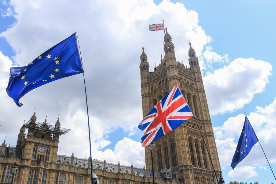 Low Angle View of British and European Union Flags