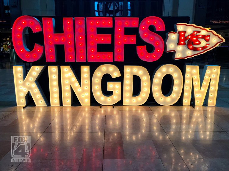 Chiefs Kingdom lighted sign at Union Station