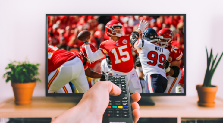 Picture of TV playing the Chiefs