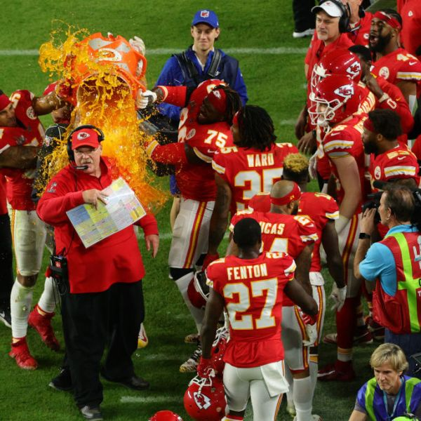 Andy Reid soaked by Gatorade