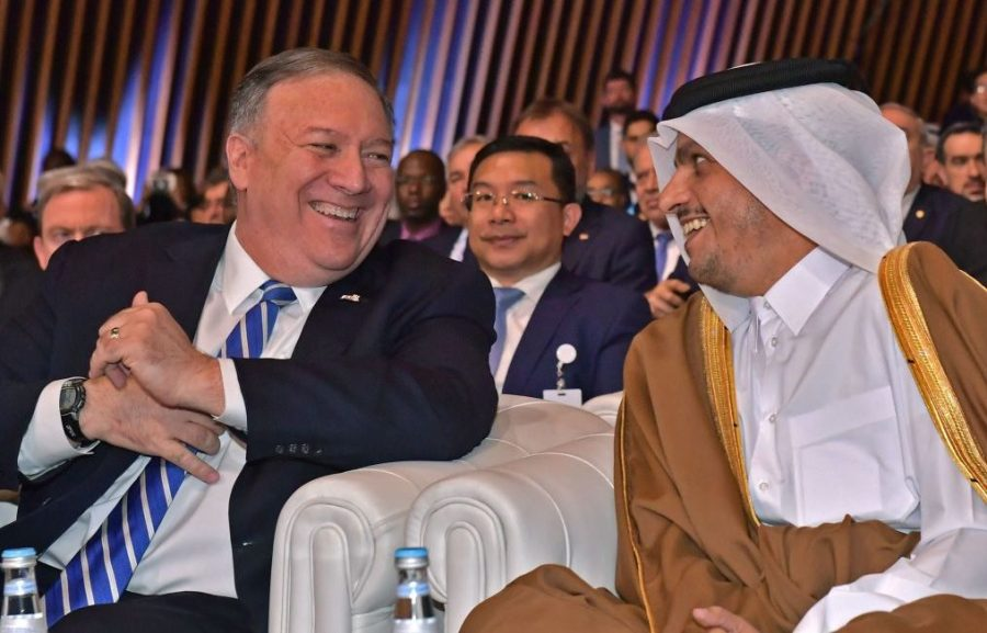 US Secretary of State Mike Pompeo (L) and Qatar's Deputy Prime Minister and Minister of Foreign Affairs Sheikh Mohammed bin Abdulrahman al-Thani