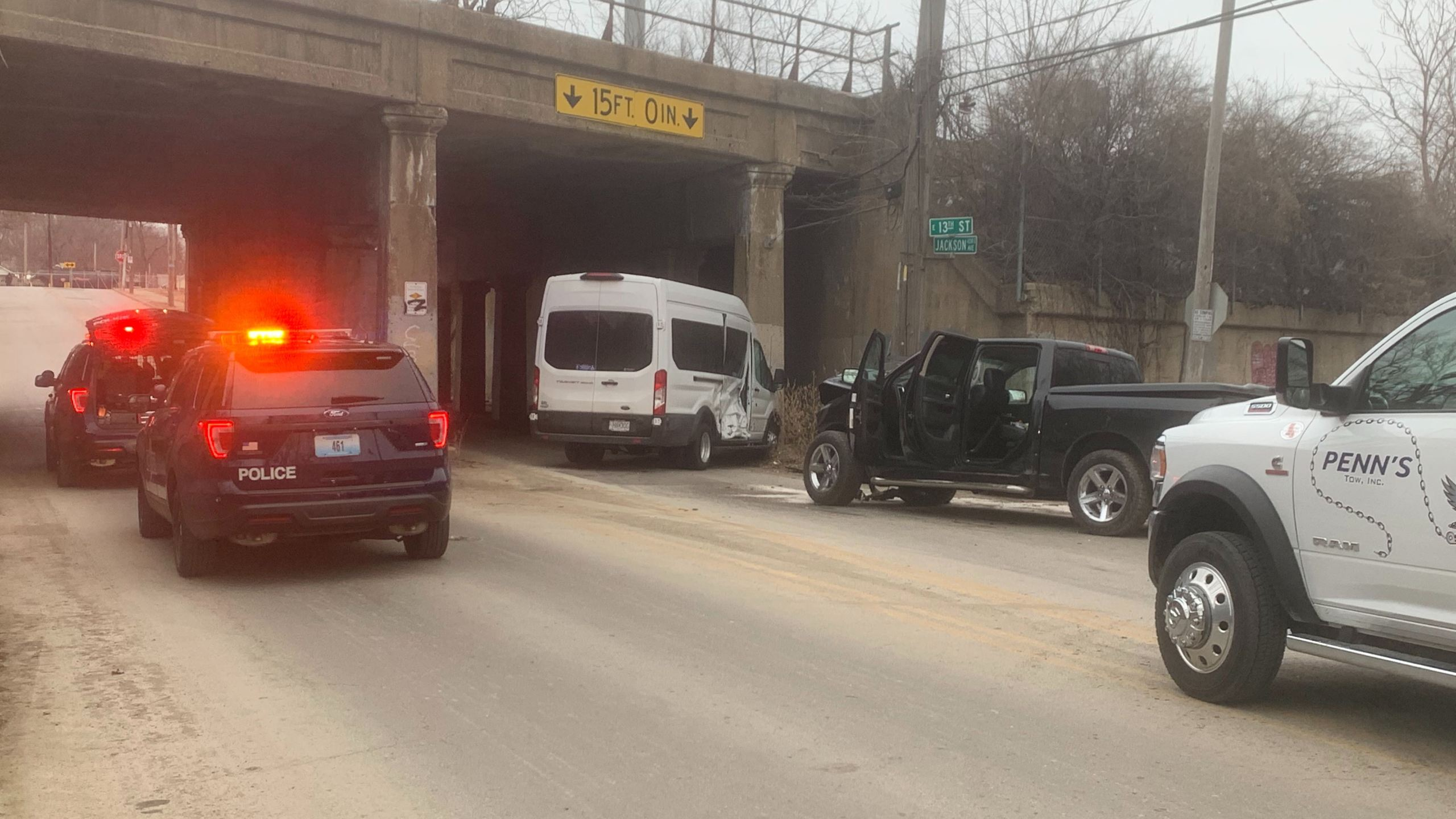 Crash involving truck and bus at 13th and Jackson KCMO