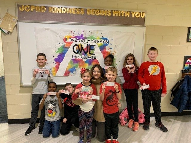 Picture of students and Valentines