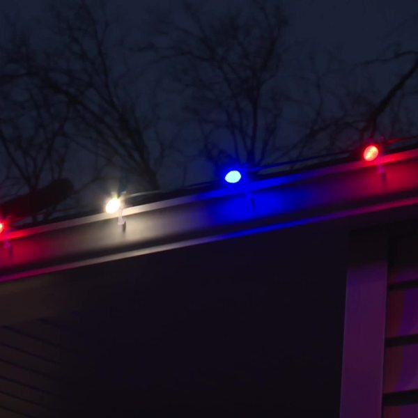 Picture of red, white and blue Christmas lights