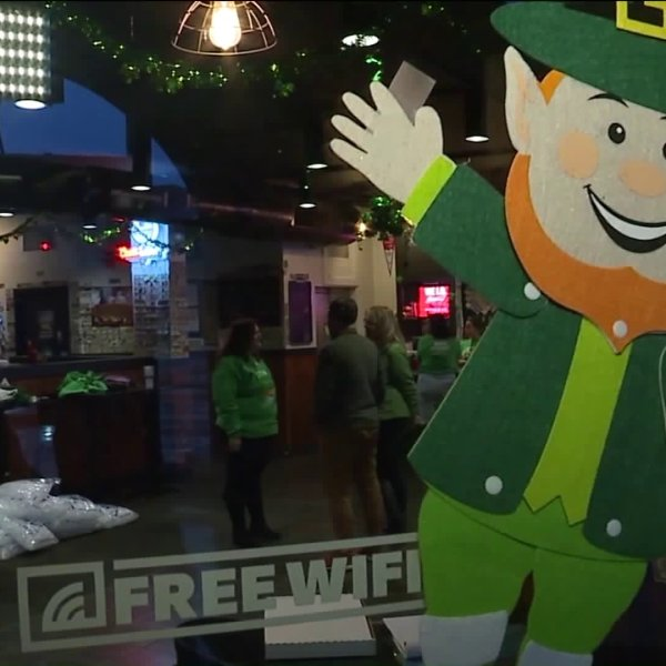 Picture of St. Patty's decor on small business storefront