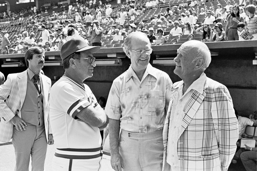 Picture (left to right) of Jim Frey, Joe Burke and Ewing Kauffman