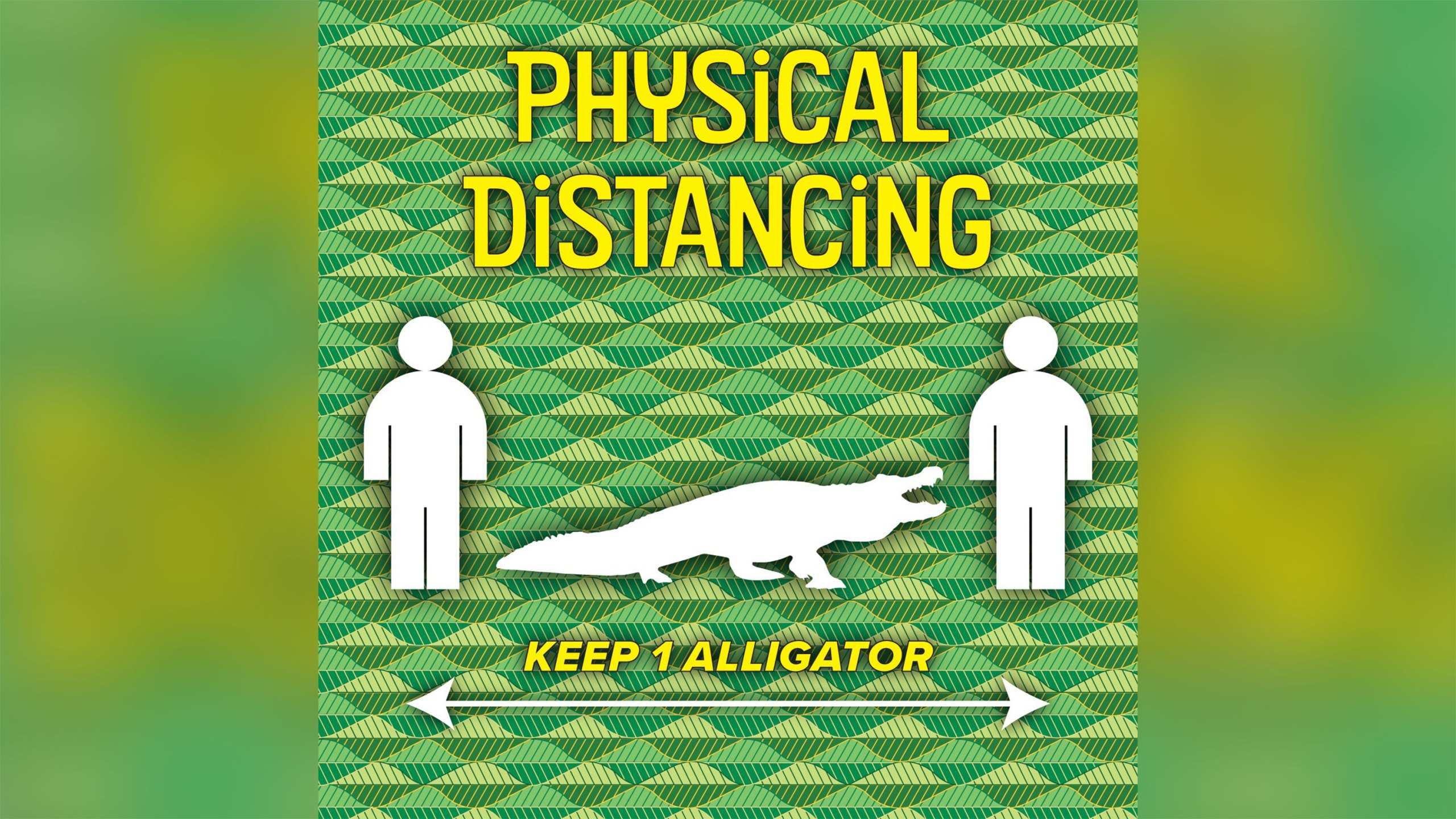 Graphic of alligator in between two people