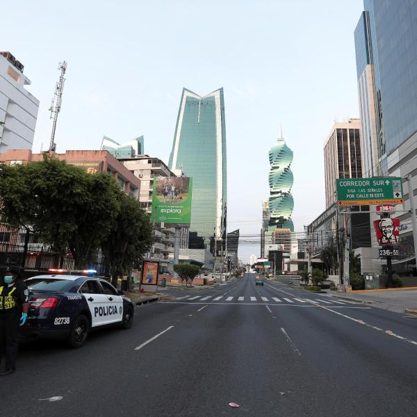 Picture of police on an empty Panama City street
