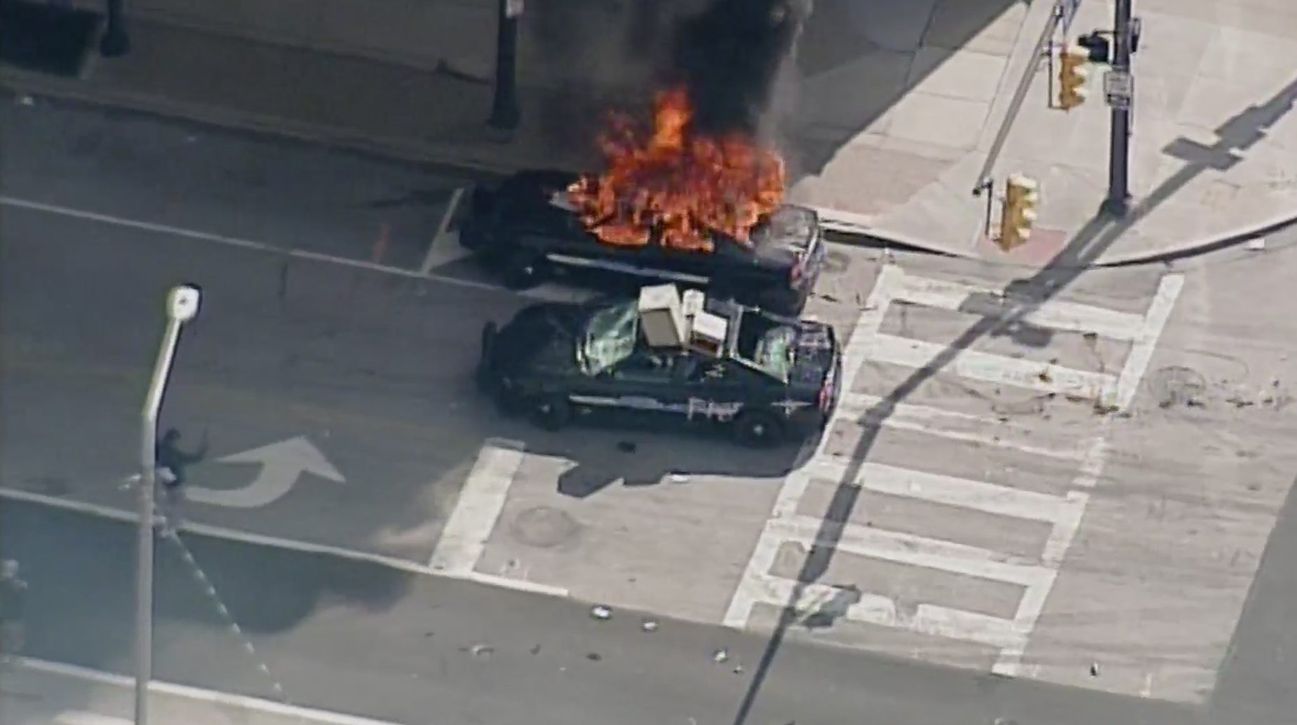 Cleveland police car on fire
