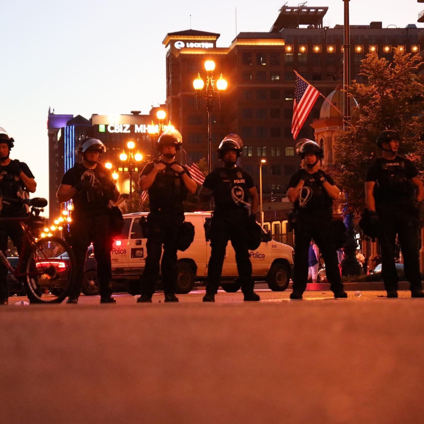 Police during protest