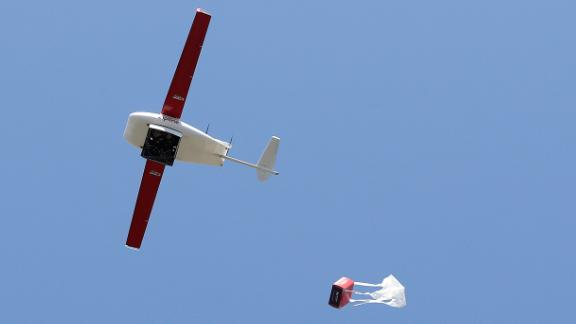 Picture of drone dropping medical supplies