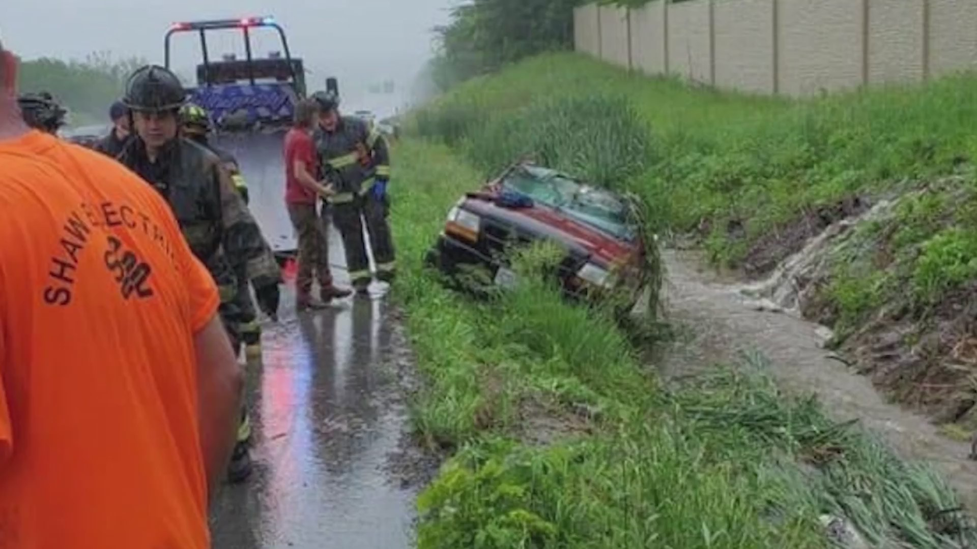 Picture of smashed truck in flash flood