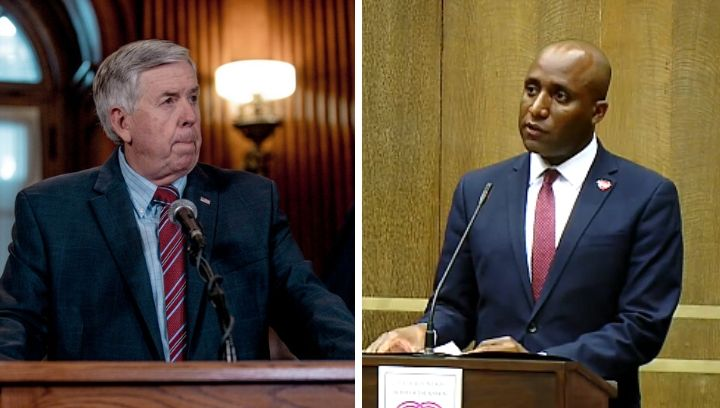 Pictures of Governor Mike Parson and Mayor Quinton Lucas