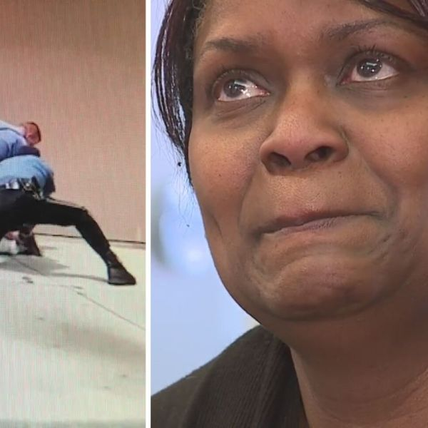 Picture of Rena Childs and video of police attacking woman