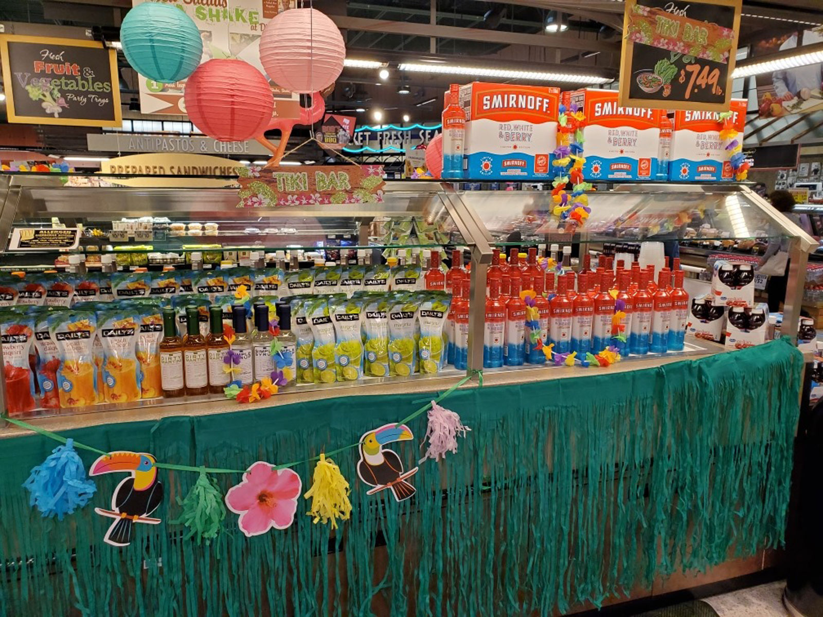 Picture of salad bar filled with alcohol