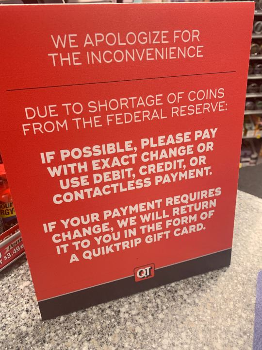 Picture of change sign at QT