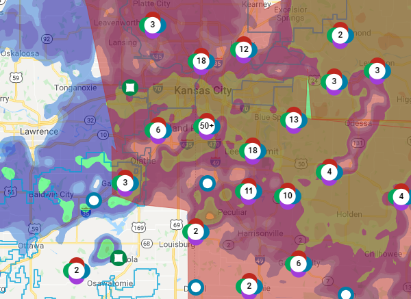 Picture of outages from Evergy website