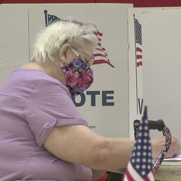 Picture of woman wearing mask voting