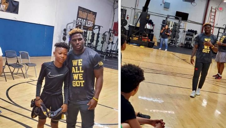 Picture of Tyreek Hill with youth in KCK