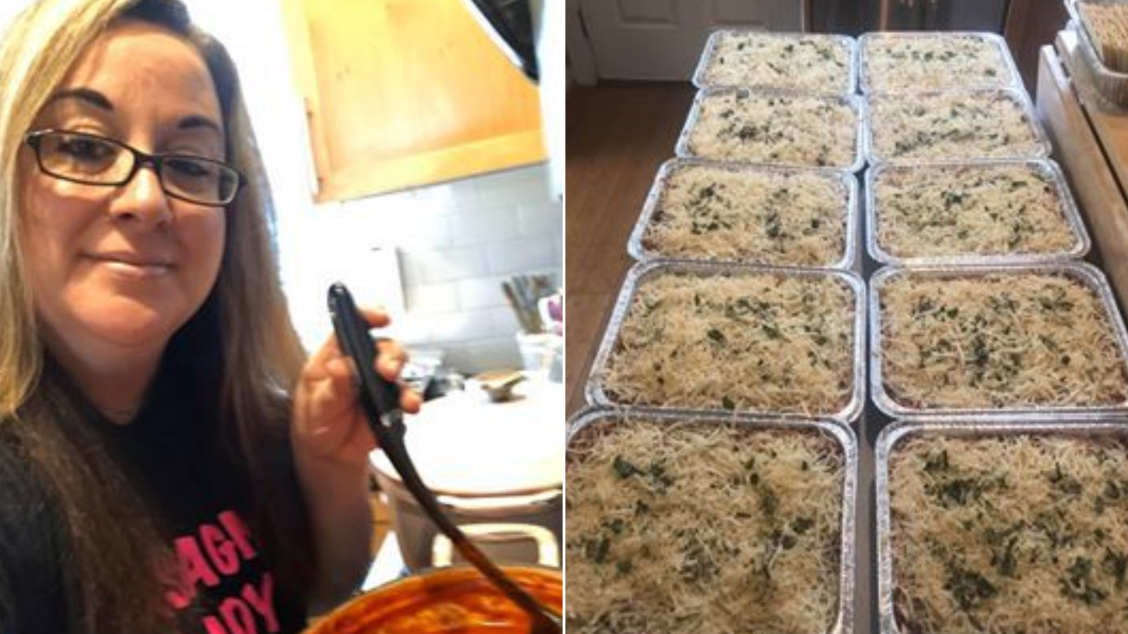 Picture of woman and lots of lasagna