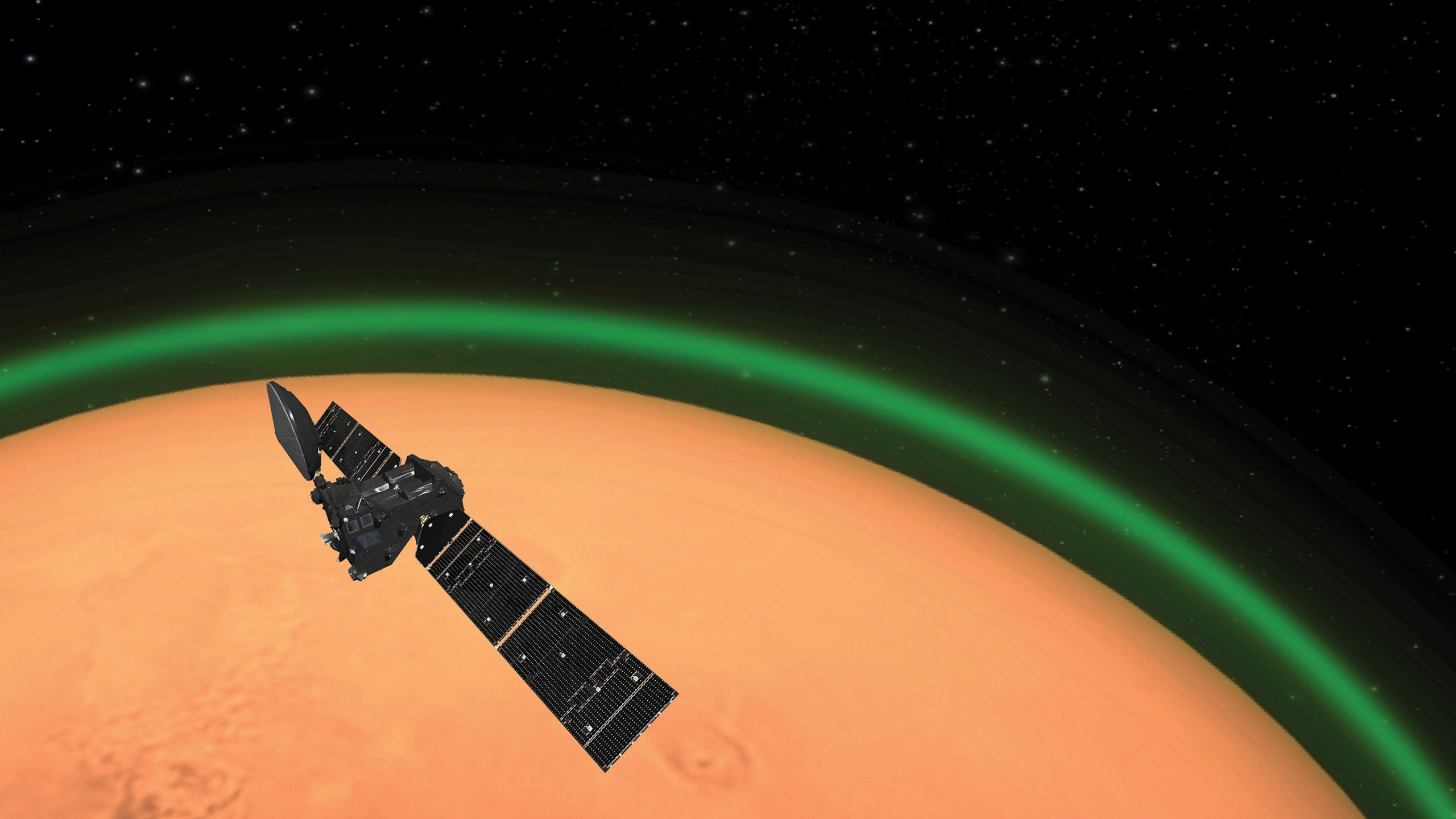 Picture of Mars with green glow around it