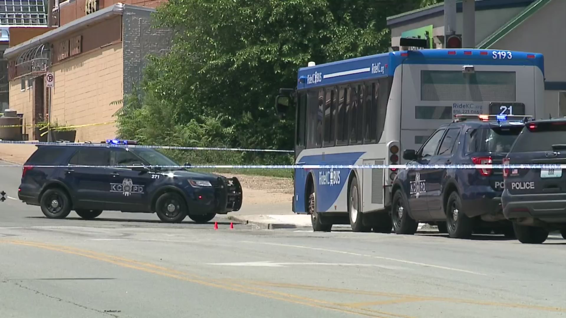 Picture of crime scene after officer, bus driver shot