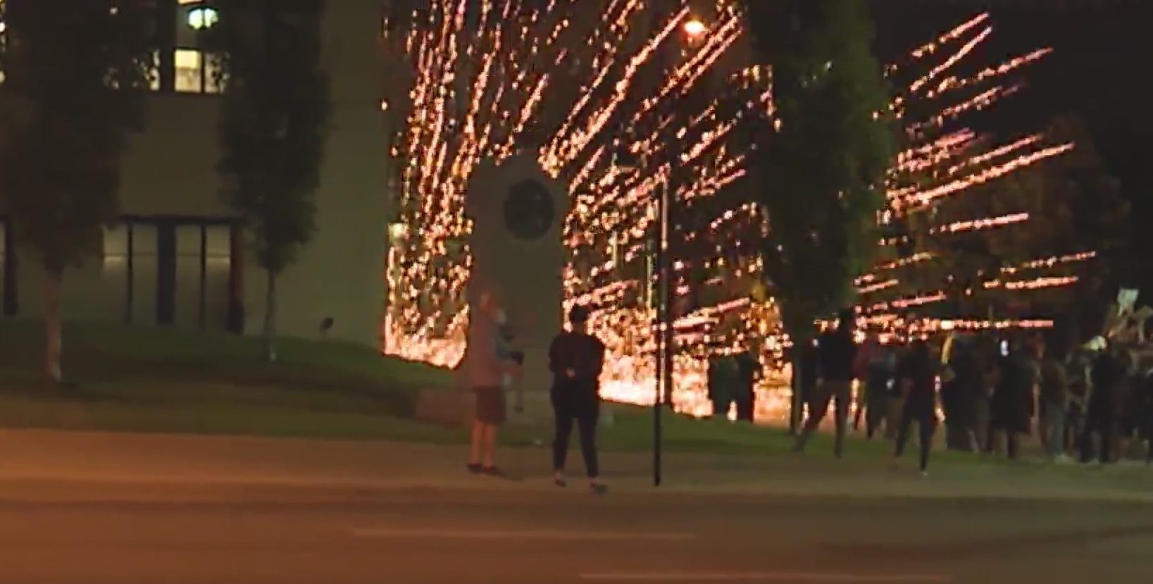 Firework at KCPD headquarters