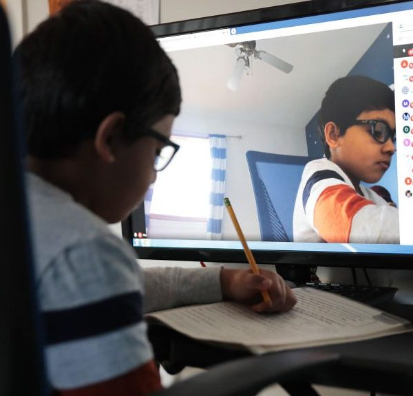 Picture of child doing distance learning