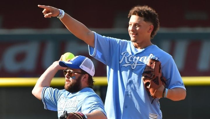 Picture of Patrick Mahomes with a Royals jersey on