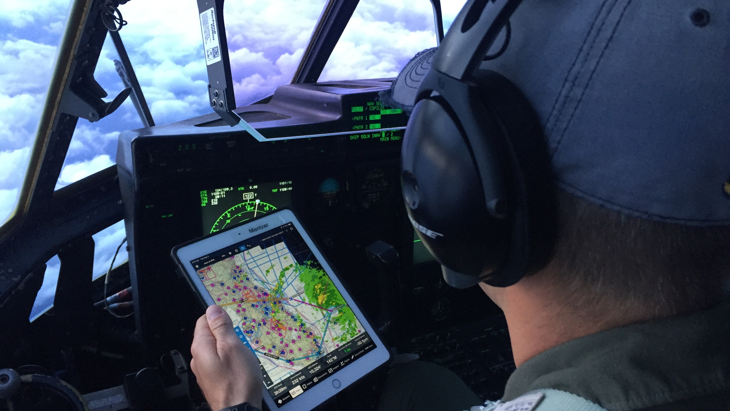 Picture of pilot monitoring a storm