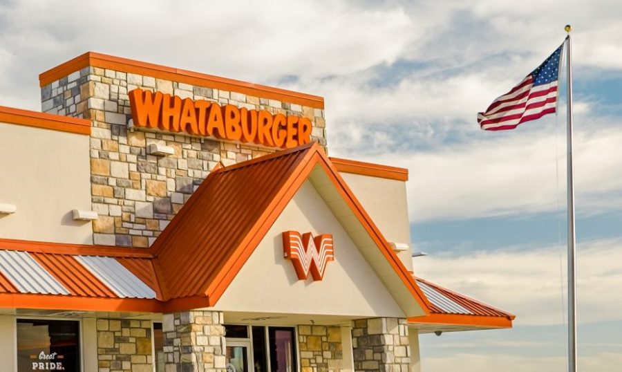 Picture of Whataburger storefront with American flag