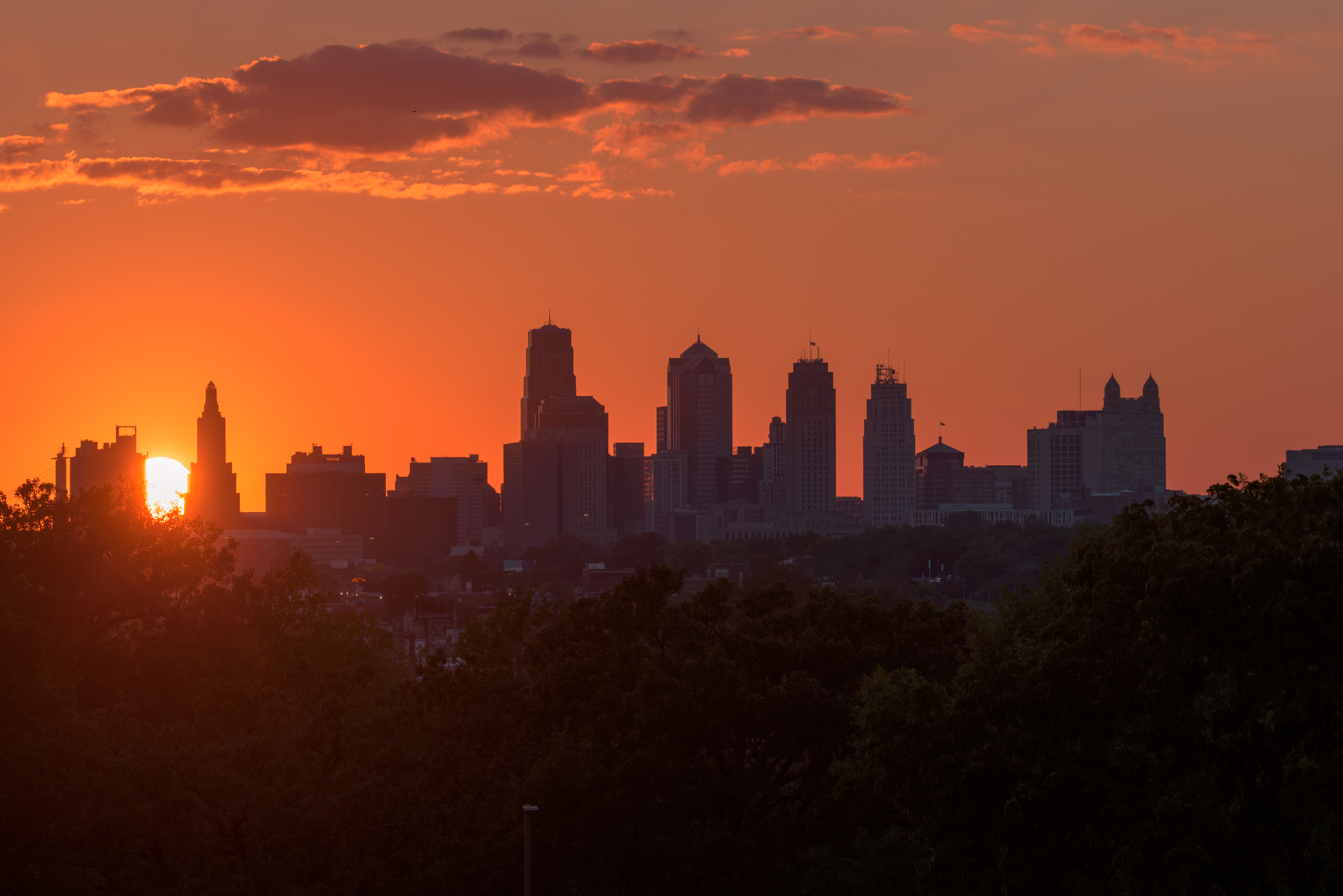 Picture of a sunset over the Kansas City skyline