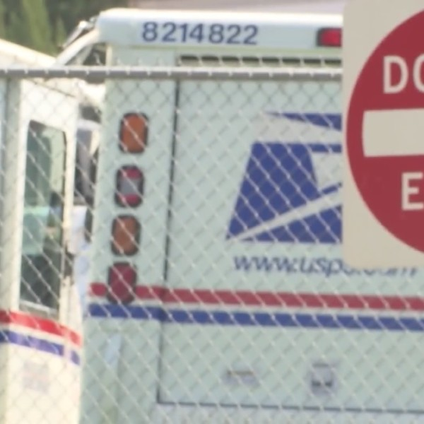 Picture of mail trucks beyond a fence
