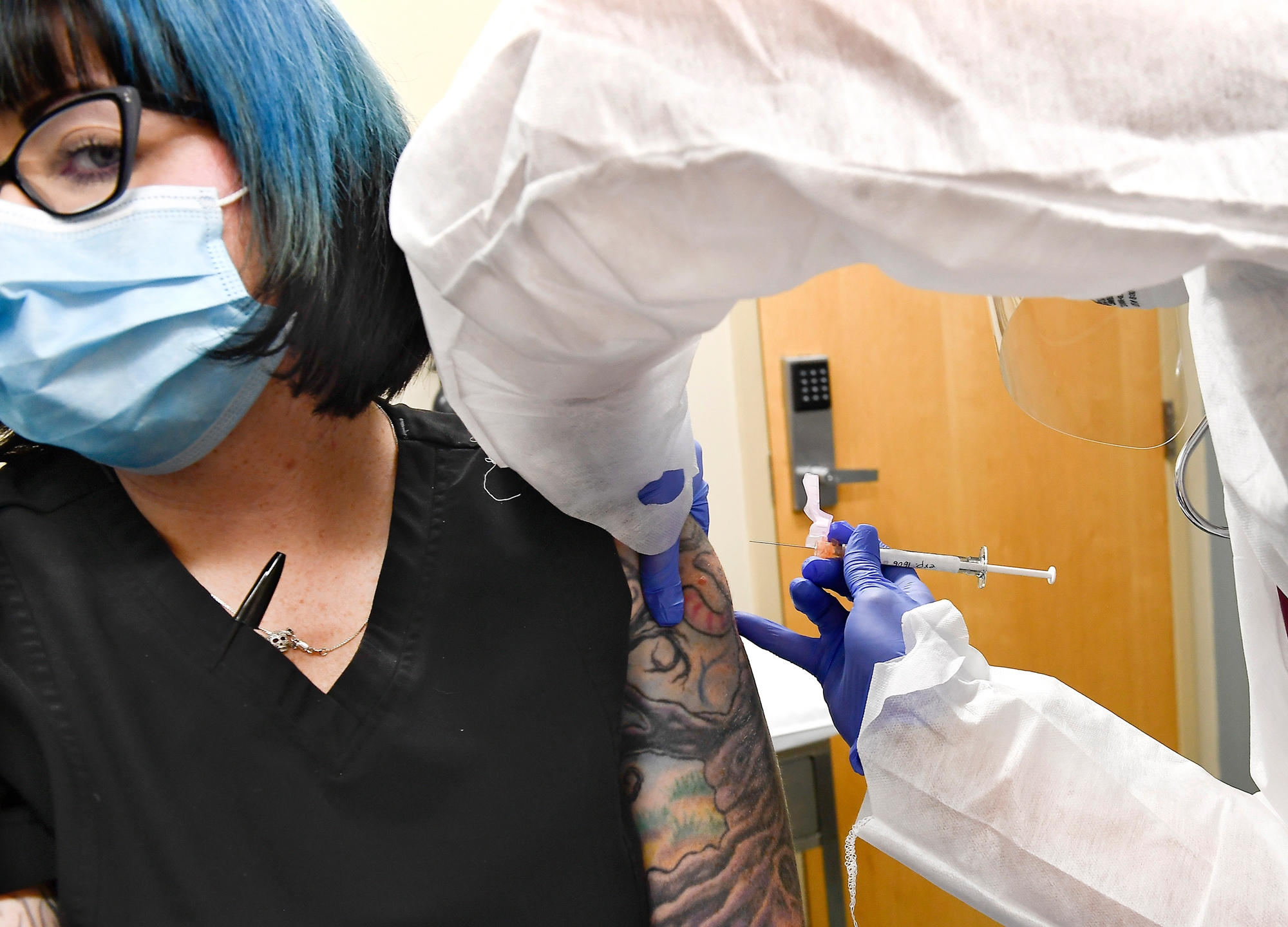 Picture of woman getting a vaccine