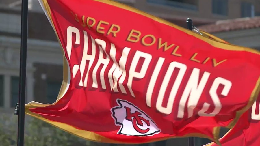 Picture of a Chiefs champion flag at the Plaza